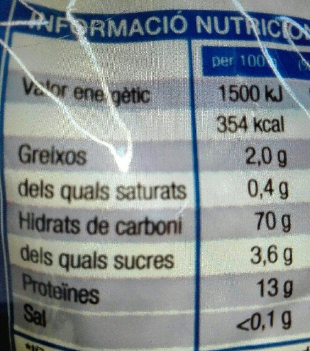 Pasta Alimentària - Informations nutritionnelles