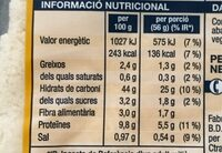 Pa de motlle sense crosta - Voedingswaarden - es