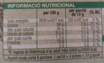 Xocolata negra 99% - Nutrition facts