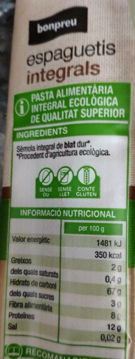 Espaguetis integrals - Voedingswaarden - es