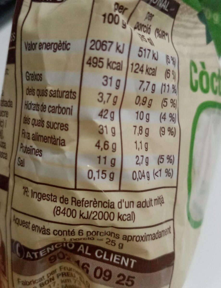 Fruita seca - Nutrition facts