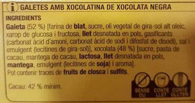 DUETS Galeta + Xocolatina (negra) - Ingredients