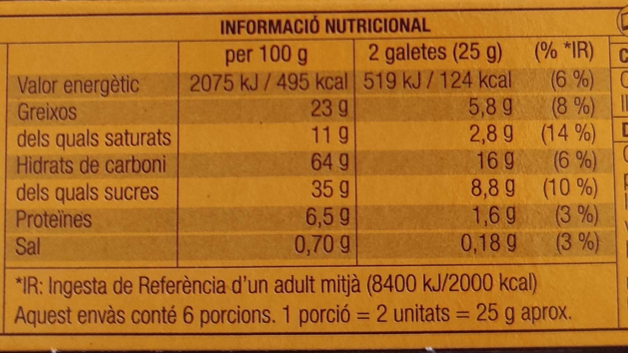DUETS Galeta + Xocolatina (negra) - Informació nutricional - ca