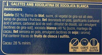 Duets de xocolata blanca - Ingredients - ca
