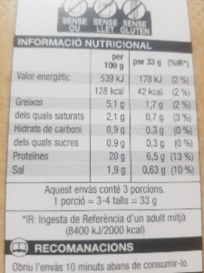 Pernil cuit - Voedingswaarden - es