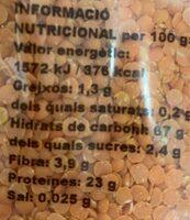 Lenteja roja 500gr - Información nutricional - es