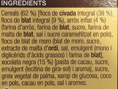 Musli xocolata - Ingredients