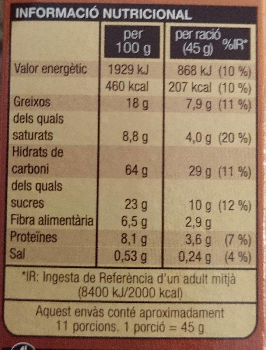 Musli xocolata - Nutrition facts - ca