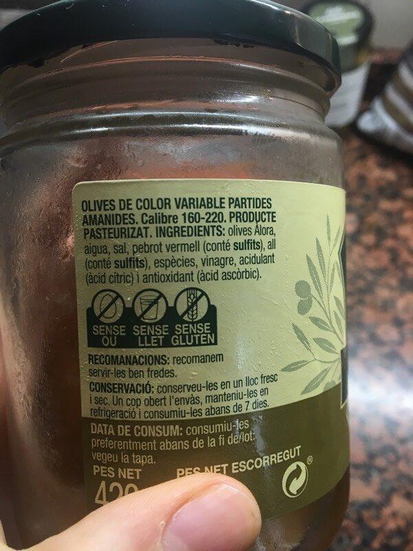 Olives amb pinyol àlora - Ingredients - es