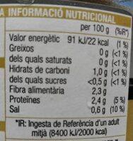 Xampinyons sencers extra - Voedingswaarden - es