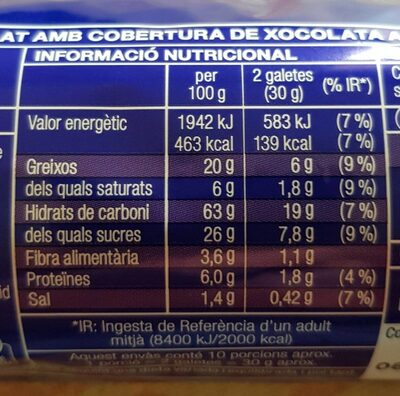 Galletas digestive con chocolate - Nutrition facts - es