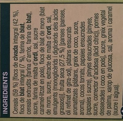 Musli fruita seca - Ingredients