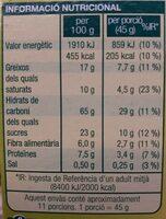 Musli fruita seca - Informació nutricional - ca