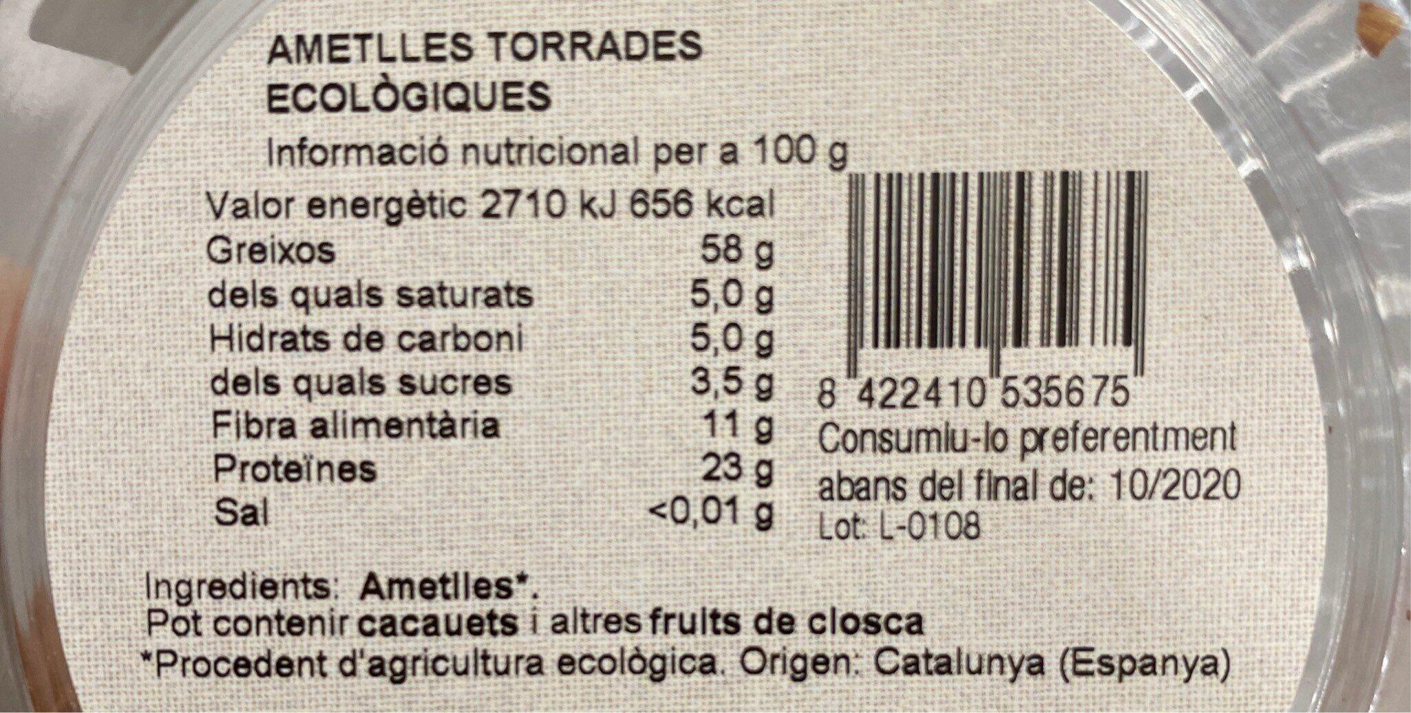 Ametlles secas torrades - Información nutricional - es