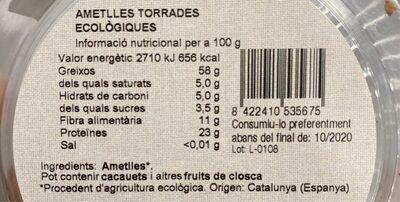 Ametlles torrades - Voedingswaarden - es