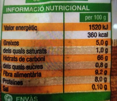 Farina Civada - Información nutricional