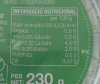 Tomàquet ratllat - Informació nutricional - es