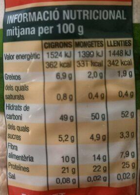 Llegum extra (Cigrons) - Información nutricional - en