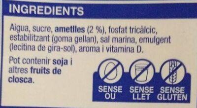 Beguda d'ametlles - Ingredients - ca