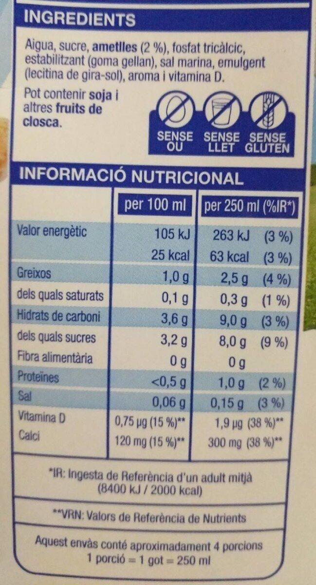 Beguda d'ametlles - Información nutricional - es
