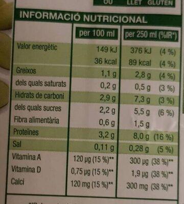 Bebida de soja - Nutrition facts - ca