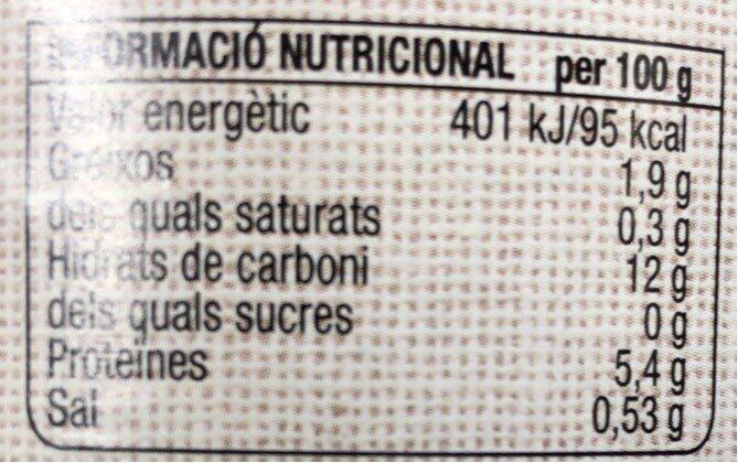 Cigrons - Valori nutrizionali - es