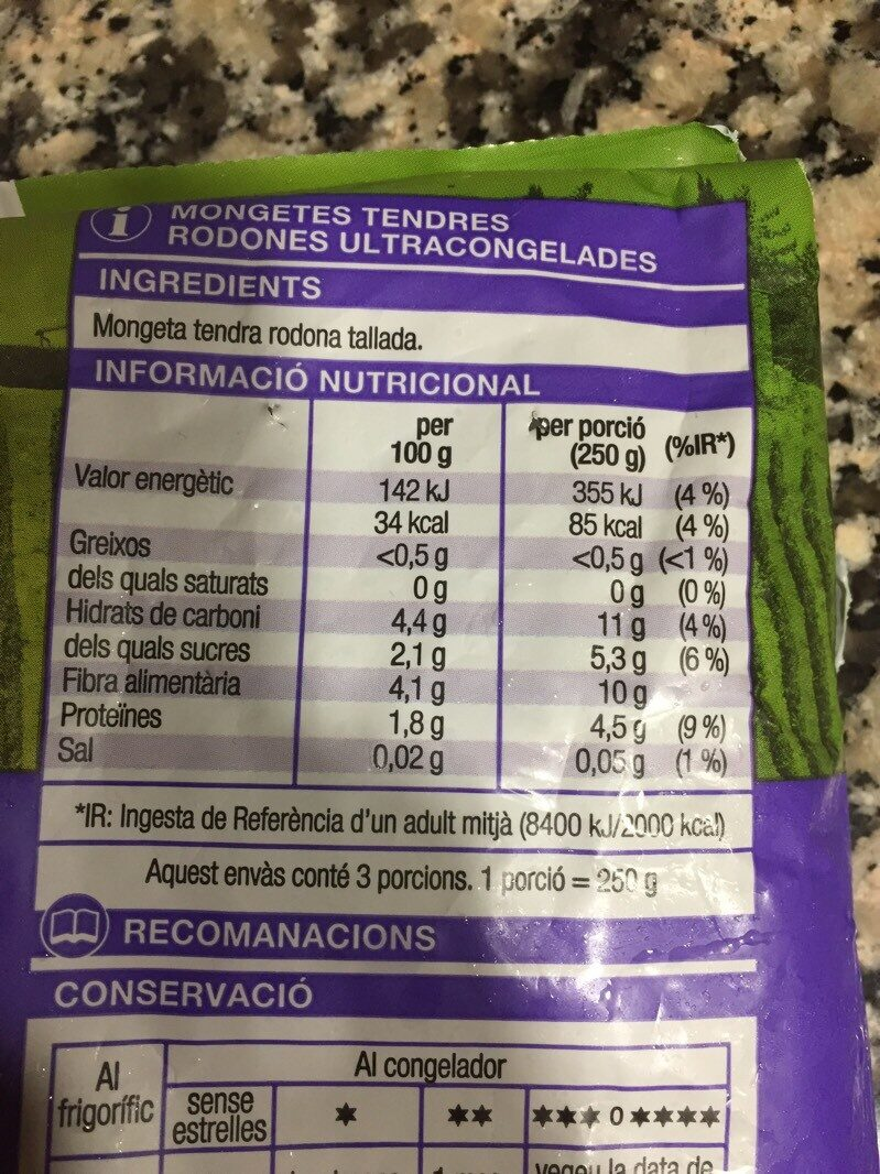 Mongetes tendres rodones - Nutrition facts