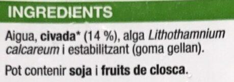 Beguda de civada - Ingrediënten - ca