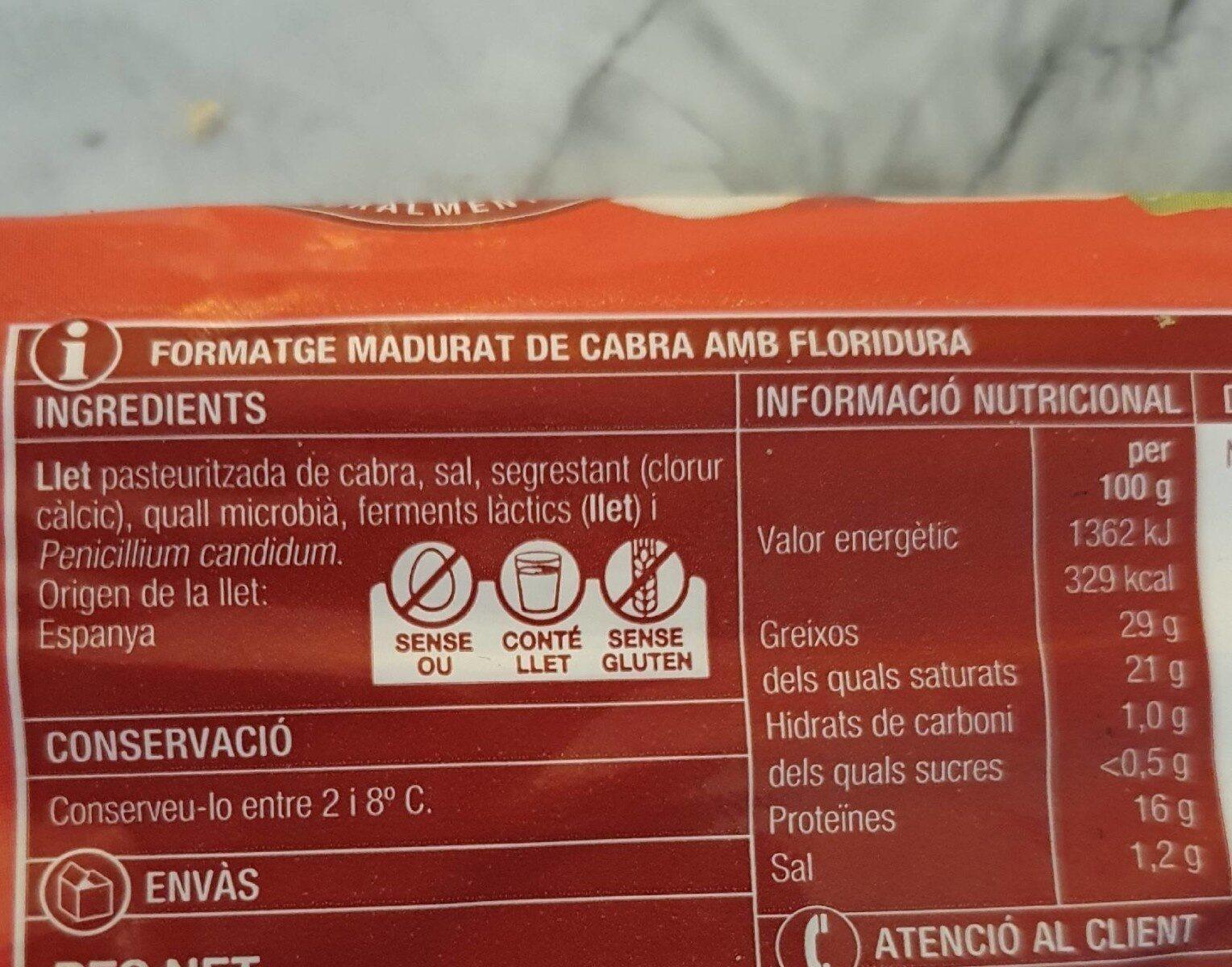 Formatge de cabra - Información nutricional - ca