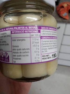 Palmitos al natural - Informations nutritionnelles