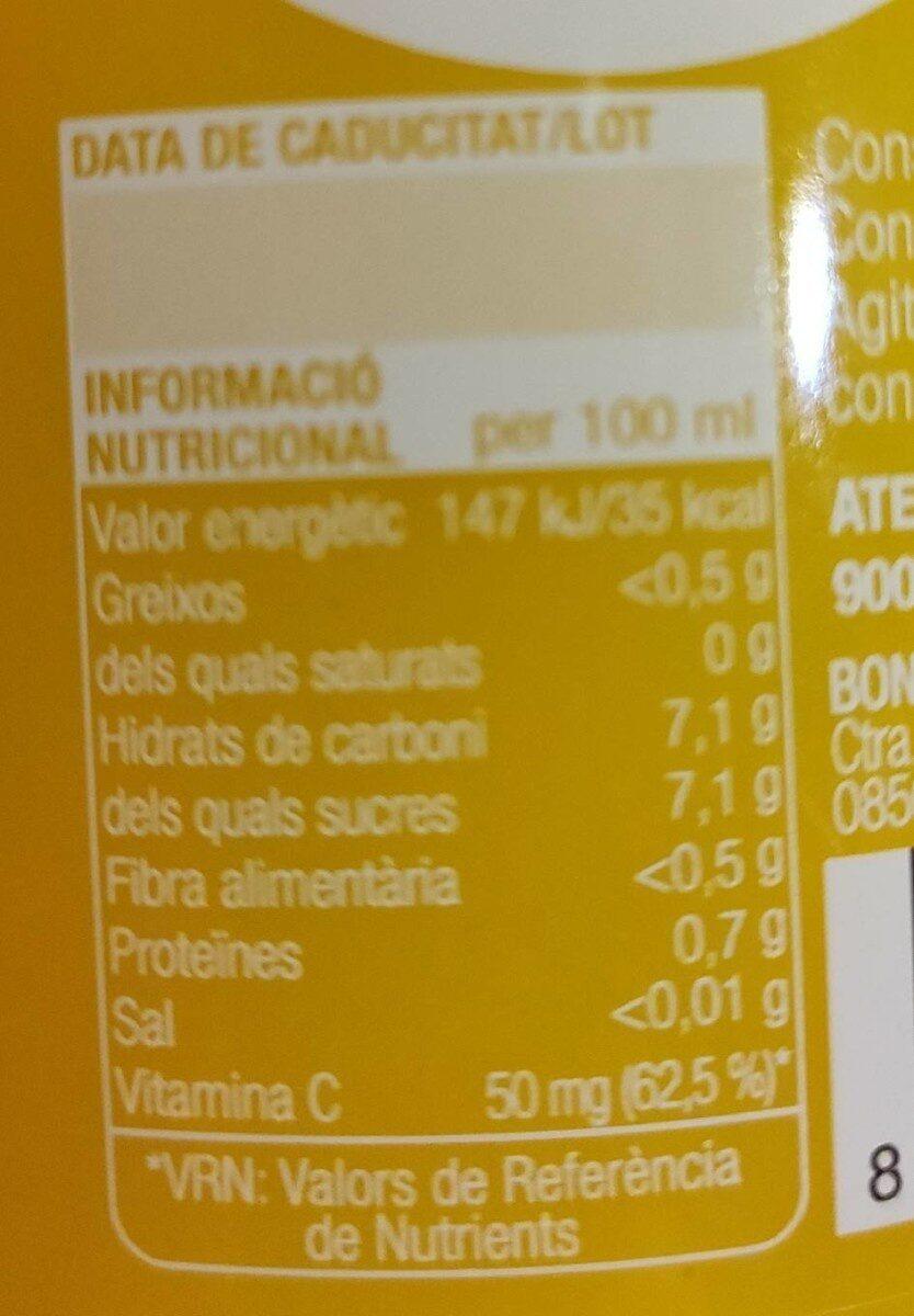 Suc de taronja - Voedingswaarden - es