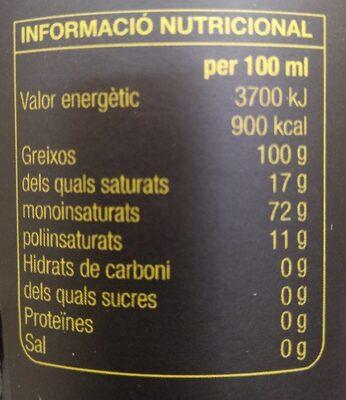 Oli d'oliva arbequina - Voedingswaarden - ca