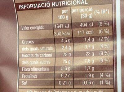 Flocs cacau - Informations nutritionnelles - es