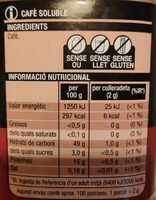 Café soluble - Voedingswaarden - en