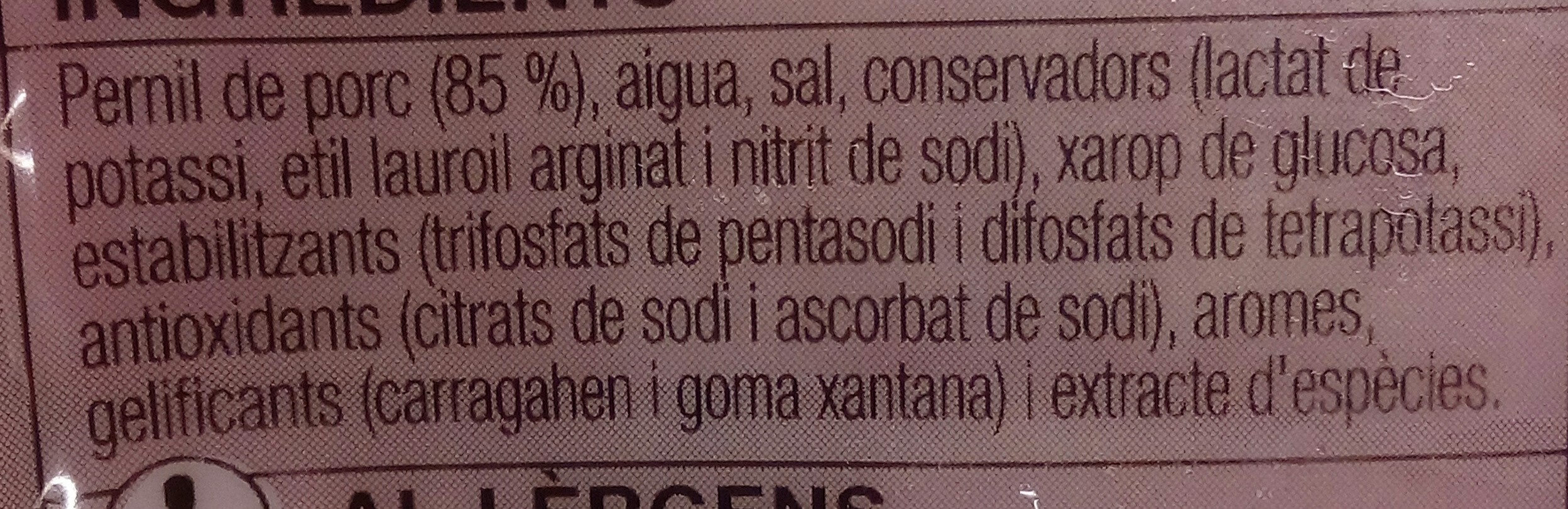 Pernil cuit extra - Ingredients - ca