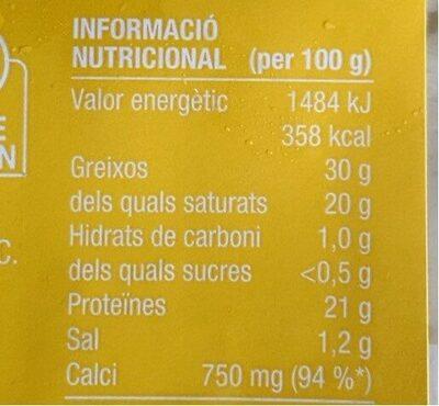 10-11 talls de formatge tendre - Información nutricional - es