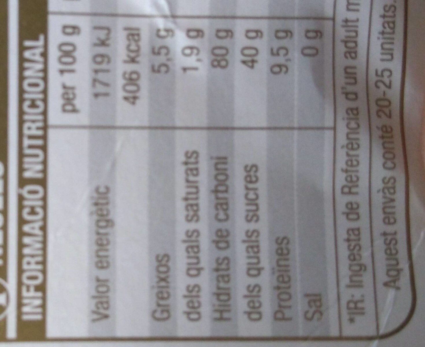 Neules - Nutrition facts