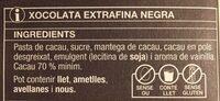Xocolata extrafina Negra - Ingredientes