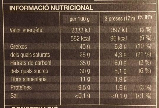Xocolata extrafina Negra - Información nutricional