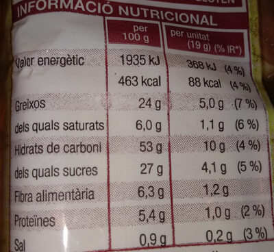 Sobaos - Nutrition facts