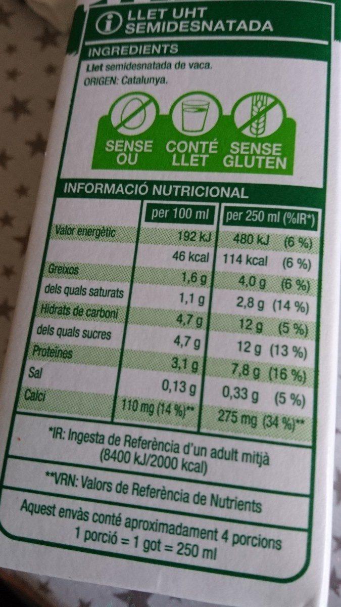 Llet uht semidesnatada - Ingrediënten - es