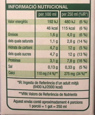 Llet uht semidesnatada - Voedingswaarden