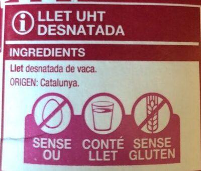 Llet desnatada UHT - Ingredients - ca