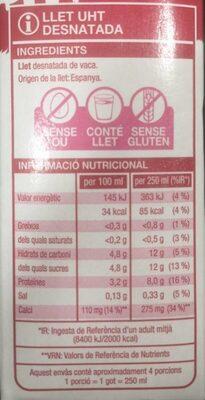 Llet desnatada UHT - Informazioni nutrizionali - ca