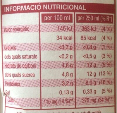 Llet desnatada UHT - Nutrition facts - ca
