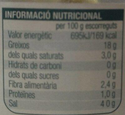 Olives sense pinyol manzanilla - Informació nutricional - es