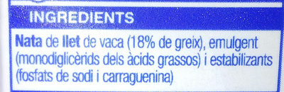 Nata líquida per cuinar - Ingredients - ca