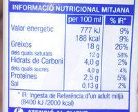 Nata líquida per cuinar - Informació nutricional - ca