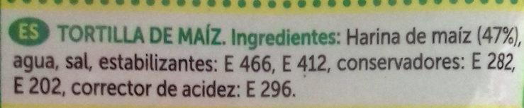 Tortillas de maíz tacos sin gluten paquete 250 g - Ingredientes - es