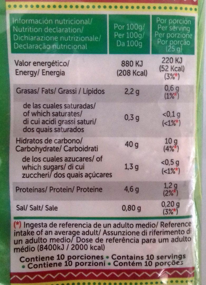 Tortillas de maíz tacos sin gluten paquete 250 g - Información nutricional - es